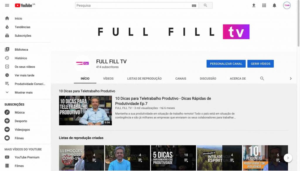 Canal FULL FILL no YouTube